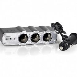 Πολύπριζο αναπτήρα αυτοκινήτου με 3 παροχές και 1 θύρα USB