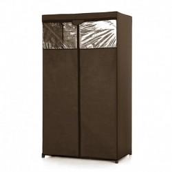 Υφασμάτινη ντουλάπα ρούχων με διαφάνεια (90x50x160cm) - Καφέ
