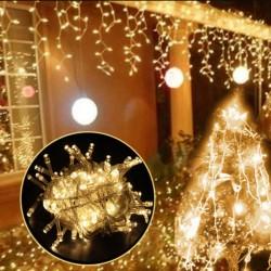 Χριστουγεννιάτικα λαμπάκια 100 Led με θερμό φωτισμό και διάφανο καλώδιο