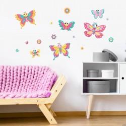 Αυτοκόλλητο τοίχου - Χρωματιστές Πεταλούδες