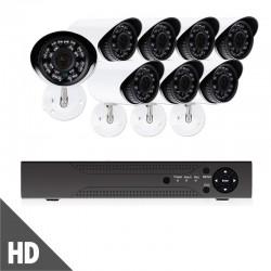 Πλήρες έγχρωμο σετ CCTV εποπτείας και καταγραφής με DVR 8 HD κάμερες τροφοδοτικό και καλωδιώσεις - 5008AHD