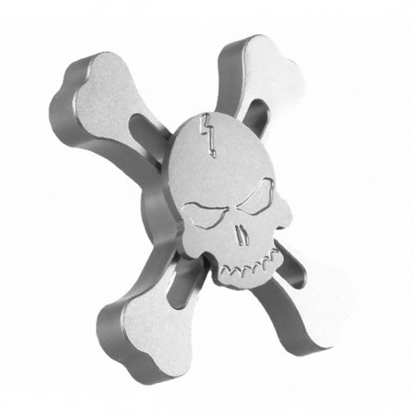 Αγχολυτικό παιχνίδι Fidget Spinner Metallic Skull Four Leaves 2 minutes - Silver