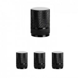 Σετ καπάκια βαλβίδας ελαστικών στρογγυλά - 4 τεμάχια - LA-408 - Μαύρο
