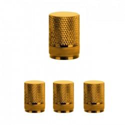 Σετ καπάκια βαλβίδας ελαστικών στρογγυλά - 4 τεμάχια - LA-408 - Χρυσαφί