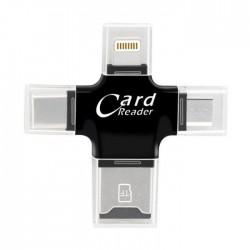 Card Reader 4 σε 1 με εξόδους USB / microUSB / Lightning / Type-C - Μαύρο