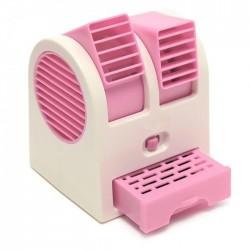Επιτραπέζιο διπλό ανεμιστηράκι με θήκη για νερό και USB - Ροζ