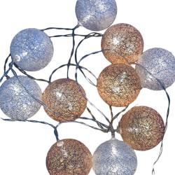 Σετ 10 led λαμπάκια - πλαστικές μπάλες με θερμό φωτισμό