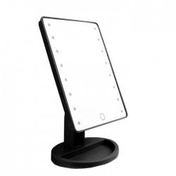 Περιστρεφόμενος καθρέπτης μακιγιάζ με 16 LEDs και μπαταρίες - Μαύρο
