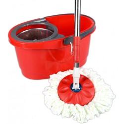 Σύστημα σφουγγαρίσματος με περιστρεφόμενη σφουγγαρίστρα με 2 κεφαλές και μεταλλικό κάδο - Κόκκινο