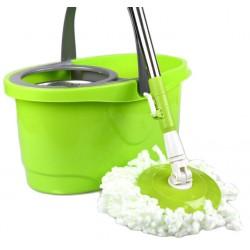 Σύστημα σφουγγαρίσματος με περιστρεφόμενη σφουγγαρίστρα με 2 κεφαλές και μεταλλικό κάδο - Πράσινο