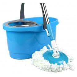 Σύστημα σφουγγαρίσματος με περιστρεφόμενη σφουγγαρίστρα με 2 κεφαλές και μεταλλικό κάδο - Μπλε