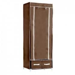 Υφασμάτινη ντουλάπα ρούχων - (60x45x160εκ.) - Καφέ