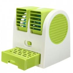 Επιτραπέζιο διπλό ανεμιστηράκι με θήκη για νερό και USB - Πράσινο