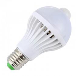 Βιδωτή SMD LED 5730 λάμπα 7W / E27 με αισθητήρα κίνησης - ψυχρό φως