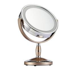 Καθρέπτης μακιγιάζ διπλής όψης x1/x2 με LED και βάση στήριξης