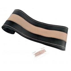 Κάλυμμα τιμονιού Φ38cm για το αυτοκίνητο με κορδόνι - Μαύρο/Μπεζ