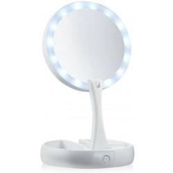 Διπλός καθρέφτης με φως LED, μεγέθυνση x10, πτυσσόμενος - My Fold Away Mirror