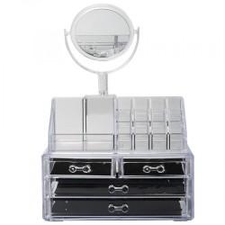 Make up organizer κουτί αποθήκευσης τεσσάρων επιπέδων με καθρέφτη JN-870