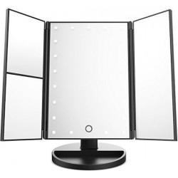 Περιστρεφόμενος τριπλός καθρέφτης μακιγιάζ με φωτισμό 22 Led και μεγέθυνση Μαύρο