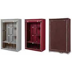 Υφασμάτινη ντουλάπα ρούχων με 5 ράφια (105x45x175εκ.) - Καφέ