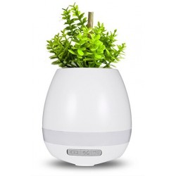 Bluetooth γλαστράκι με ηχείο και LED φωτισμό - Λευκό