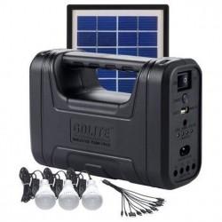 Ηλιακό σύστημα φωτισμού & φόρτισης με panel, μπαταρία, φακό & 3 λάμπες LED GD-8017