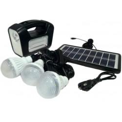 Ηλιακό σύστημα φωτισμού 6V με 3 λάμπες και μεγάλης ισχύος φακό με 16 LED GDLITE 3