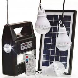 Ηλιακό πακέτο φωτισμού με πάνελ, φορτιστή και 3 λάμπες GD-8216