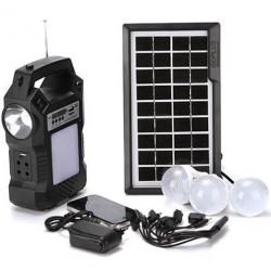 Ηλιακό σύστημα φωτισμού με φακό, λαμπτήρες, ραδιόφωνο, MP3 GD-8060