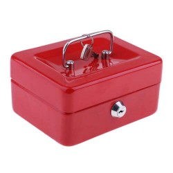 Μεταλλικό cash box ασφαλείας για μεταφορά αποθήκευση χρημάτων - κόκκινο