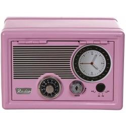 Μεταλλικός ρετρό κουμπαράς με διπλή κλειδαριά - ραδιόφωνο ροζ