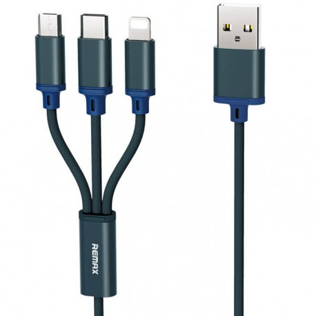 Remax USB to Lightning/Type-C /micro USB Blue RC-131th