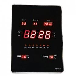 Slim ψηφιακό ρολόι τοίχου LED με θερμόμετρο, ημερολόγιο & δείκτη υγρασίας H3929-1