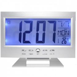 Ρολόι - Ξυπνητήρι με αισθητήρα ήχου, LCD οθόνη & ένδειξη θερμοκρασίας DS-8082 Ασημί