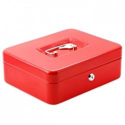Μεταλλικό cash box ασφαλείας για μεταφορά αποθήκευση χρημάτων 25x20x9 - κόκκινο