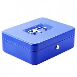 Μεταλλικό cash box ασφαλείας για μεταφορά αποθήκευση χρημάτων 25x20x9 - μπλε