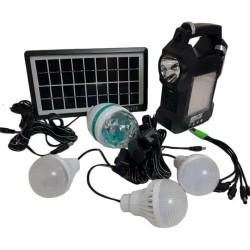 Ηλιακό σύστημα φωτισμού & φόρτισης FM με panel, μπαταρία, φακό & 3 λάμπες 3W GD-8050