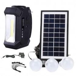 Ηλιακό Σύστημα φωτισμού & φόρτισης FM με panel, μπαταρία, φακό & 3 λάμπες GD-8161
