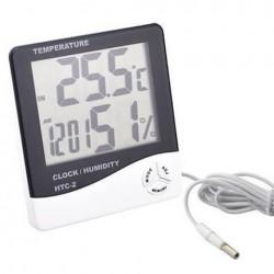 Ρολόι ξυπνητήρι με θερμόμετρο και υγρασιόμετρο εσωτερικού/εξωτερικού χώρου HTC-2