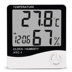 Ρολόι ξυπνητήρι με θερμόμετρο και υγρασιόμετρο εσωτερικού χώρου HTC-1