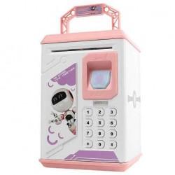 Κουμπαράς ATM ροζ Robot με δαχτυλικό αποτύπωμα και κωδικό