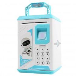Κουμπαράς ATM γαλάζιο Robot με δαχτυλικό αποτύπωμα και κωδικό