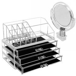 Make up organizer κουτί αποθήκευσης τεσσάρων επιπέδων με καθρέφτη JN-878