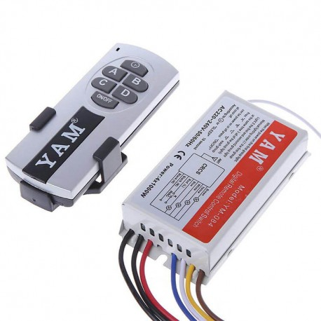 Kit Universal ασύρματου τηλεχειρισμού διακόπτη ΟΕΜ ΥΑΜ YM-084 , 433Mhz με 1 τηλεχειριστήριο, 4 κανάλια