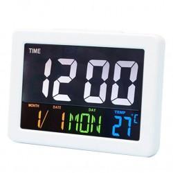 Επιτραπέζιο ψηφιακό ρολόι έγχρωμο με ξυπνητήρι , ημερομηνία , θερμοκρασία GH-2000WJ Λευκό