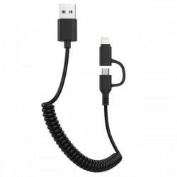 Awei Spiral USB σε Lightning/ micro USB CL-53 Μαύρο