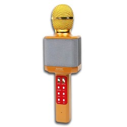 WSTER WS-1828 Ασύρματο bluetooth μικρόφωνο με ενσωματωμένο ηχείο, karaoke και disco light led Χρυσό