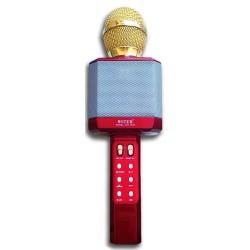 WSTER WS-1828 Ασύρματο bluetooth μικρόφωνο με ενσωματωμένο ηχείο, karaoke και disco light led Κόκκινο