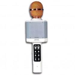 WSTER WS-1828 Ασύρματο bluetooth μικρόφωνο με ενσωματωμένο ηχείο, karaoke και disco light led Λευκό
