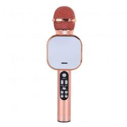 Q009 Ασύρματο bluetooth μικρόφωνο με ενσωματωμένο ηχείο, karaoke και disco light led Ροζ